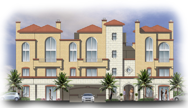 sample color elevation design of multi family house - 2d House Elevation Designs In