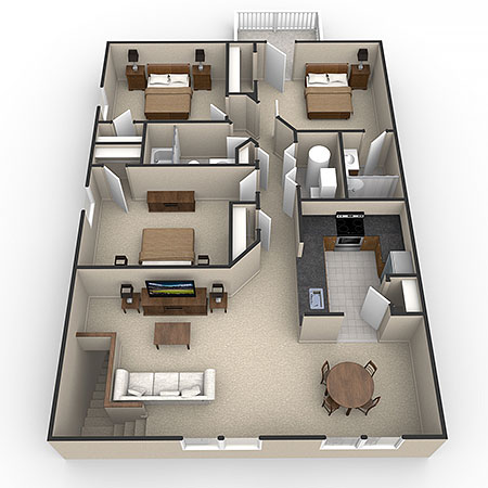 ... 3D Floor Plan Rendering Of Apartment ...