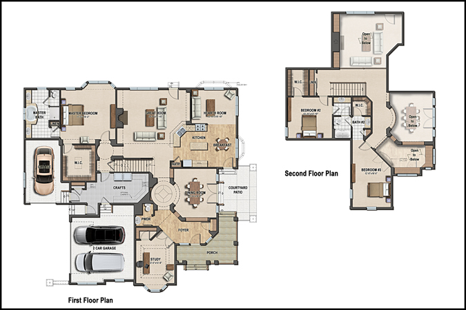 Home Builder Interactive Floor Plans: Color 2D Graphics